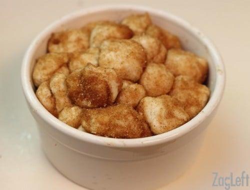 apple fritter monkey bread dough in bowl