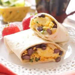 Make Ahead Huevos Rancheros Breakfast Burritos | onedishkitchen.com