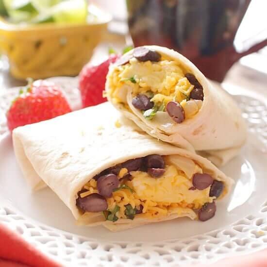 Make Ahead Huevos Rancheros Breakfast Burritos | onedishkitchen.com