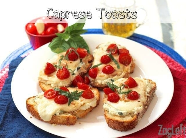 Four slices of caprese toast on a plate