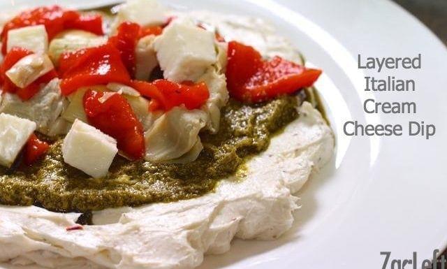 Layered Italian Cream Cheese Dip from One Dish Kitchen