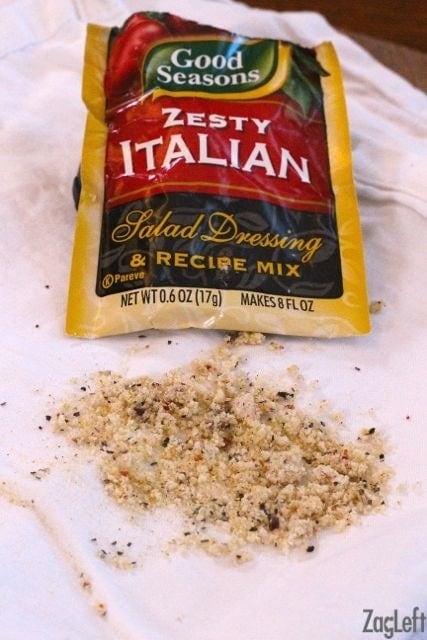 Italian dressing mix sprinkled on a cloth napkin