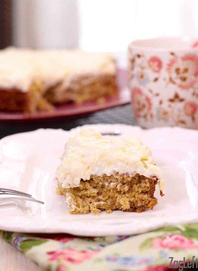 This old-fashioned Pineapple Oat Cake recipe a family favorite! It's a light and flavorful oatmeal cake topped with a low calorie cream cheese frosting.   One Dish Kitchen