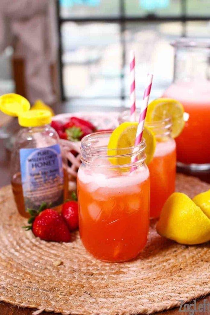 glasses of strawberry lemonade | One Dish Kitchen