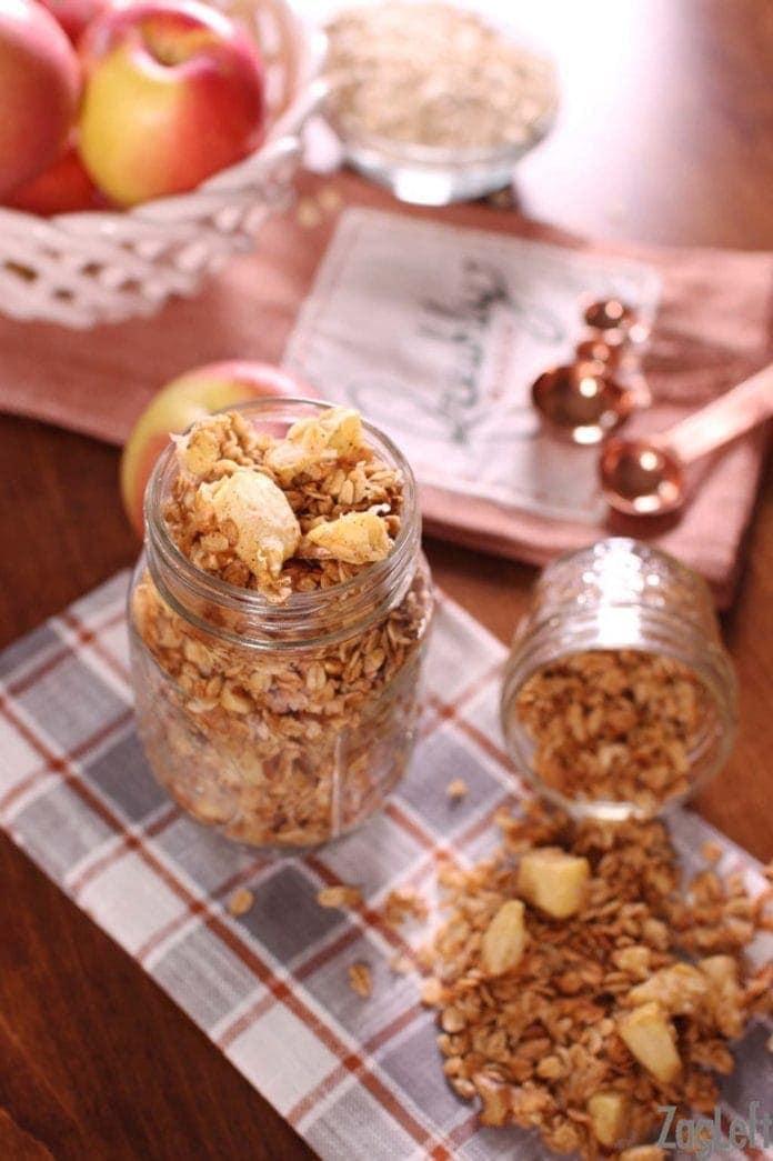 jar of apple granola   one dish kitchen