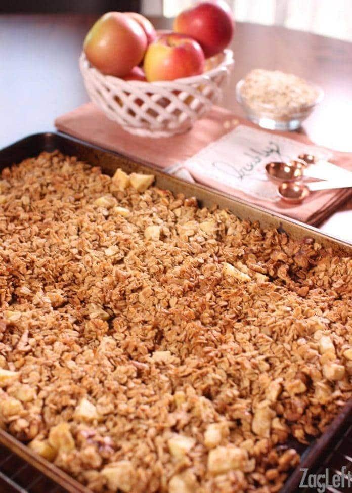 apple granola on a baking sheet   one dish kitchen