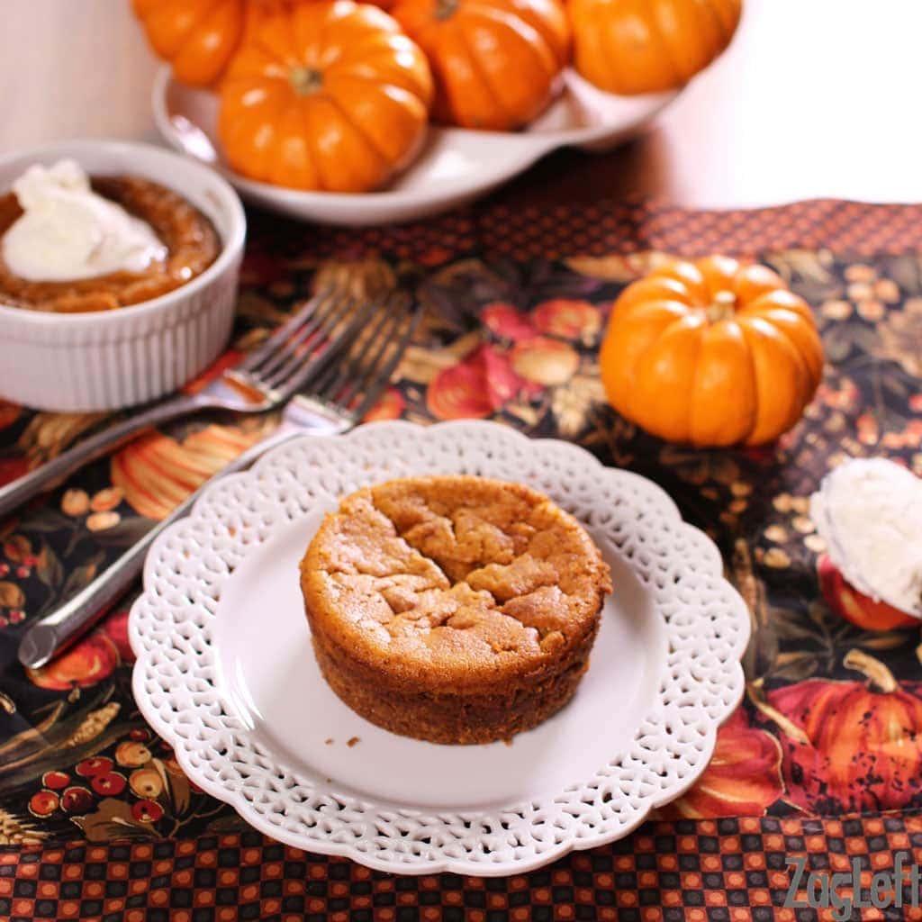 mini pumpkin pie on a plate