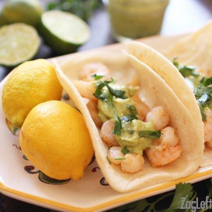 one shrimp taco with avocado puree   one dish kitchen