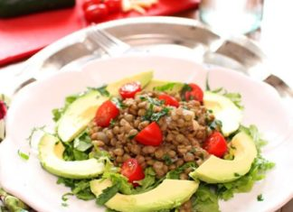 This fresh tasting, easy to make Lentil Avocado Salad with a light dijon vinaigrette is topped with tomatoes and avocados. It's a wonderful meatless main salad.| One Dish Kitchen