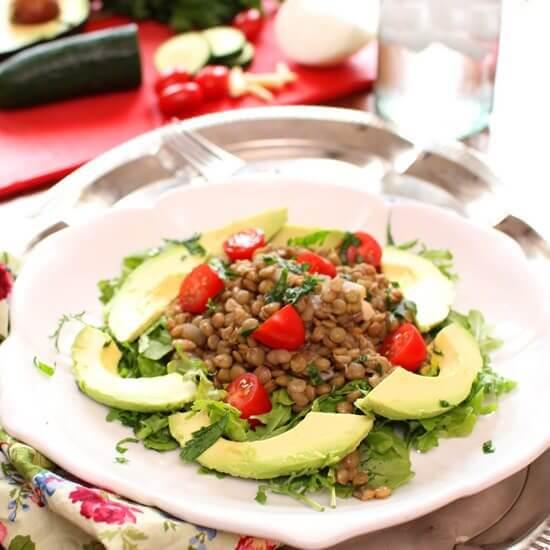 Lentil Avocado Salad   Meatless Meals For Lent   One Dish Kitchen