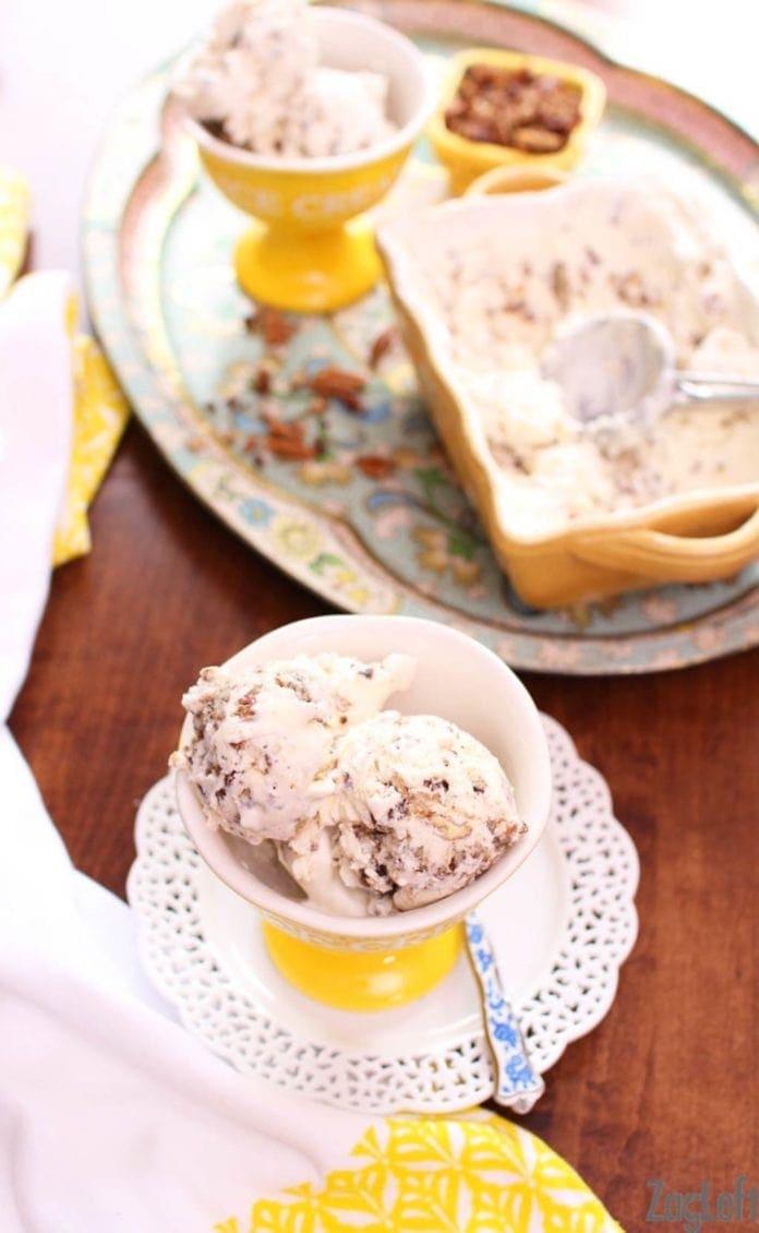 No machine needed to make this Butter Pecan Ice Cream | One Dish Kitchen