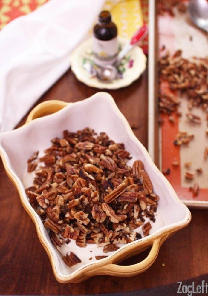 Adding pecans | Butter Pecan Ice Cream | One Dish Kitchen