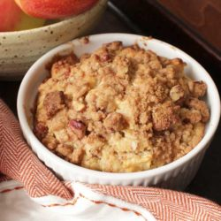 Apple muffin in ramekin cinnamon streusel topping