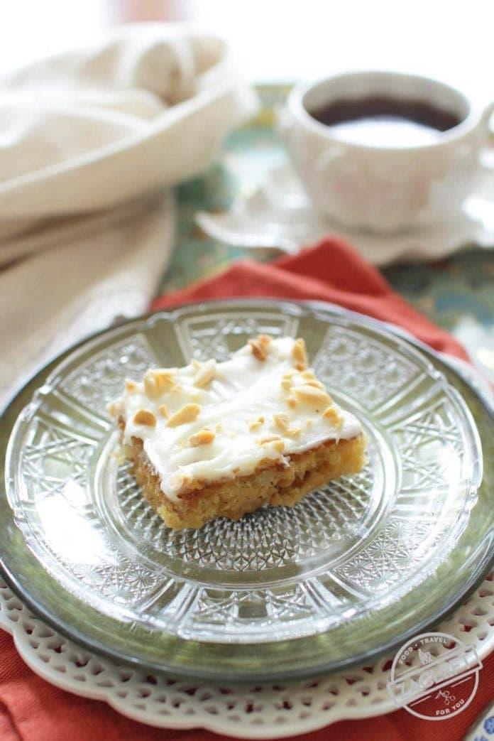 Cake on a plate | Pineapple Peanut Mini Sheet Cake | One Dish Kitchen