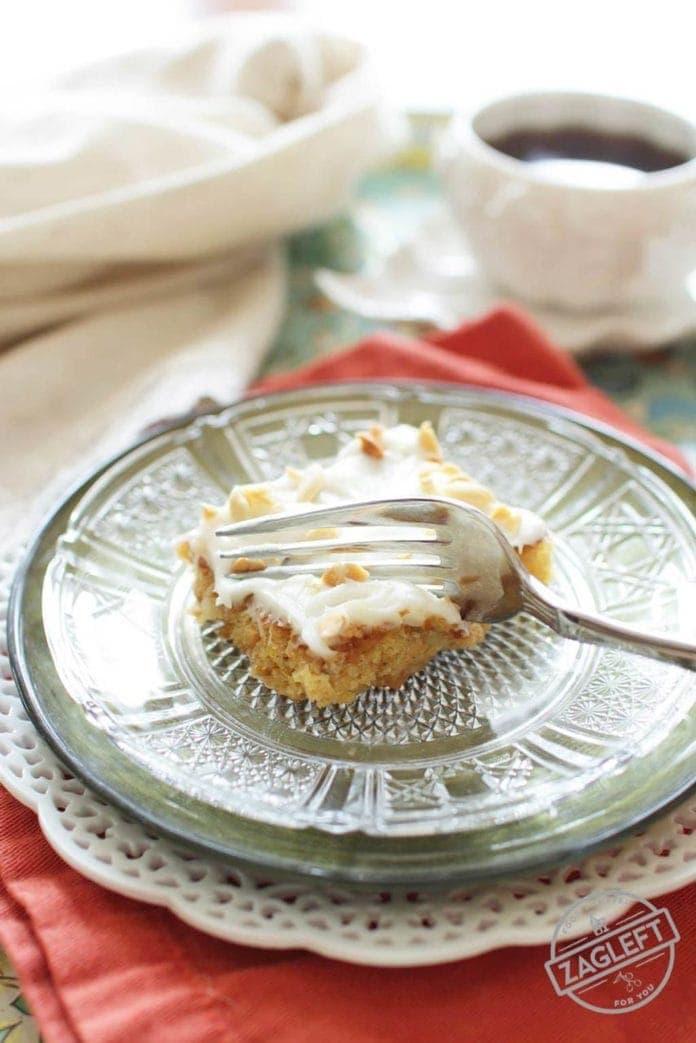 Slice of cake | Pineapple Peanut Mini Sheet Cake | One Dish Kitchen