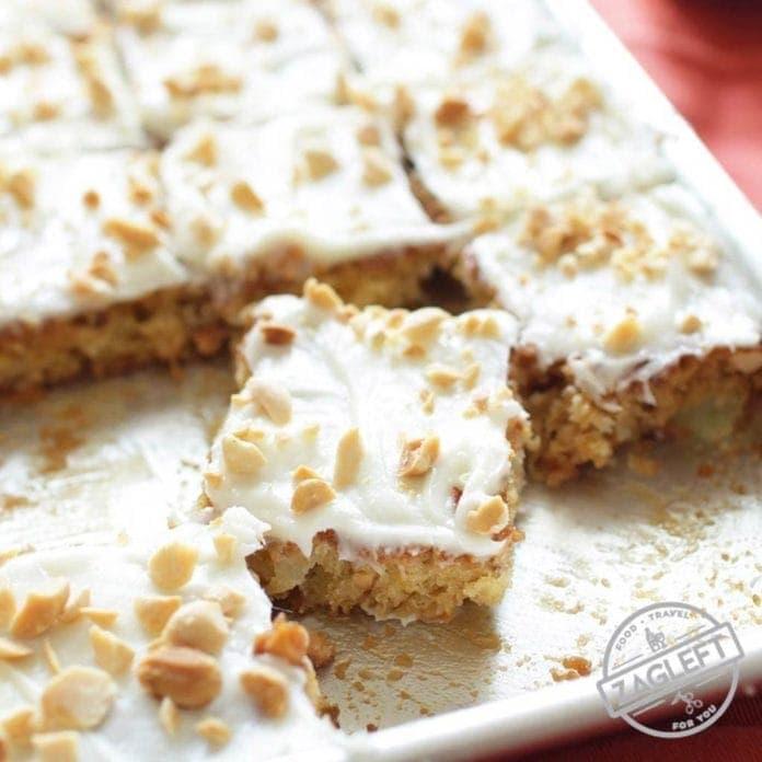 Slices of sheet cake | Pineapple and Peanut Mini Sheet Cake | One Dish Kitchen
