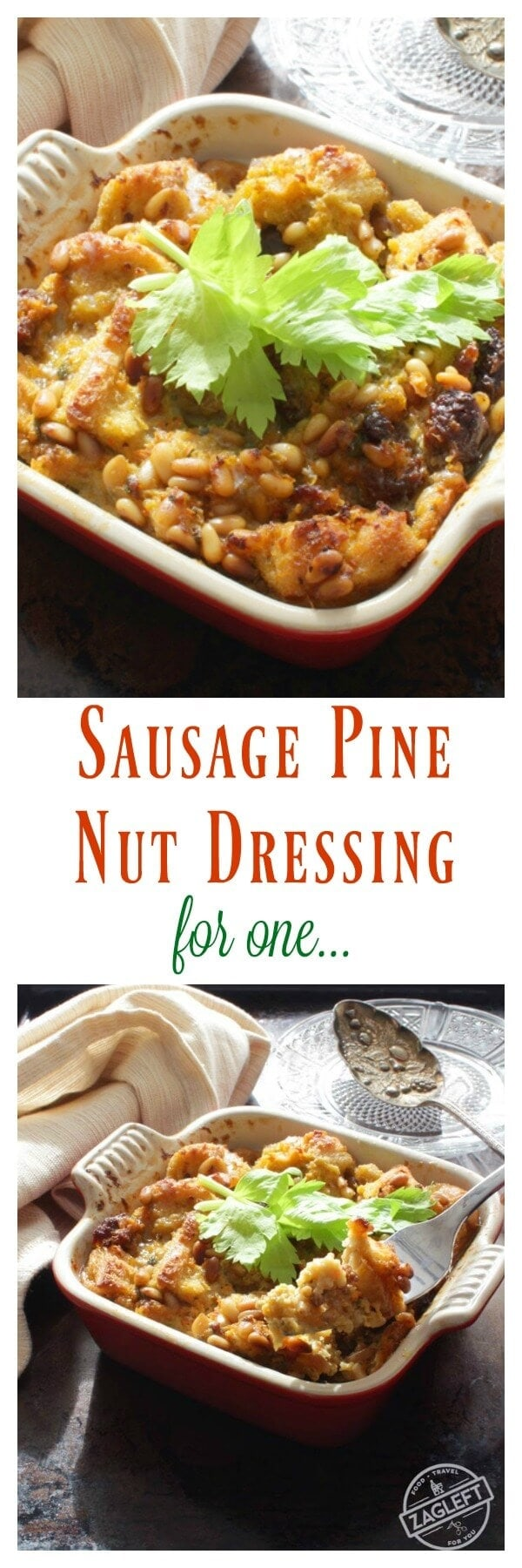 Sausage Pine Nut Dressing For One | Visit www.onedishkitchen.com for other single serving recipes.