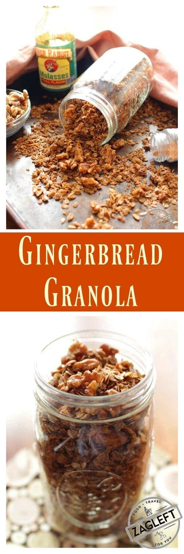 Enjoy the warm spices of the season in this wintertime Gingerbread Granola. Filled with pecans, oats, molasses and maple syrup, it's perfectly spiced and great for breakfast or to snack on.