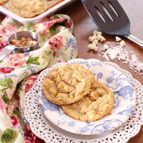 Small Batch Tropical White Chocolate Chip Cookies | onedishkitchen.com
