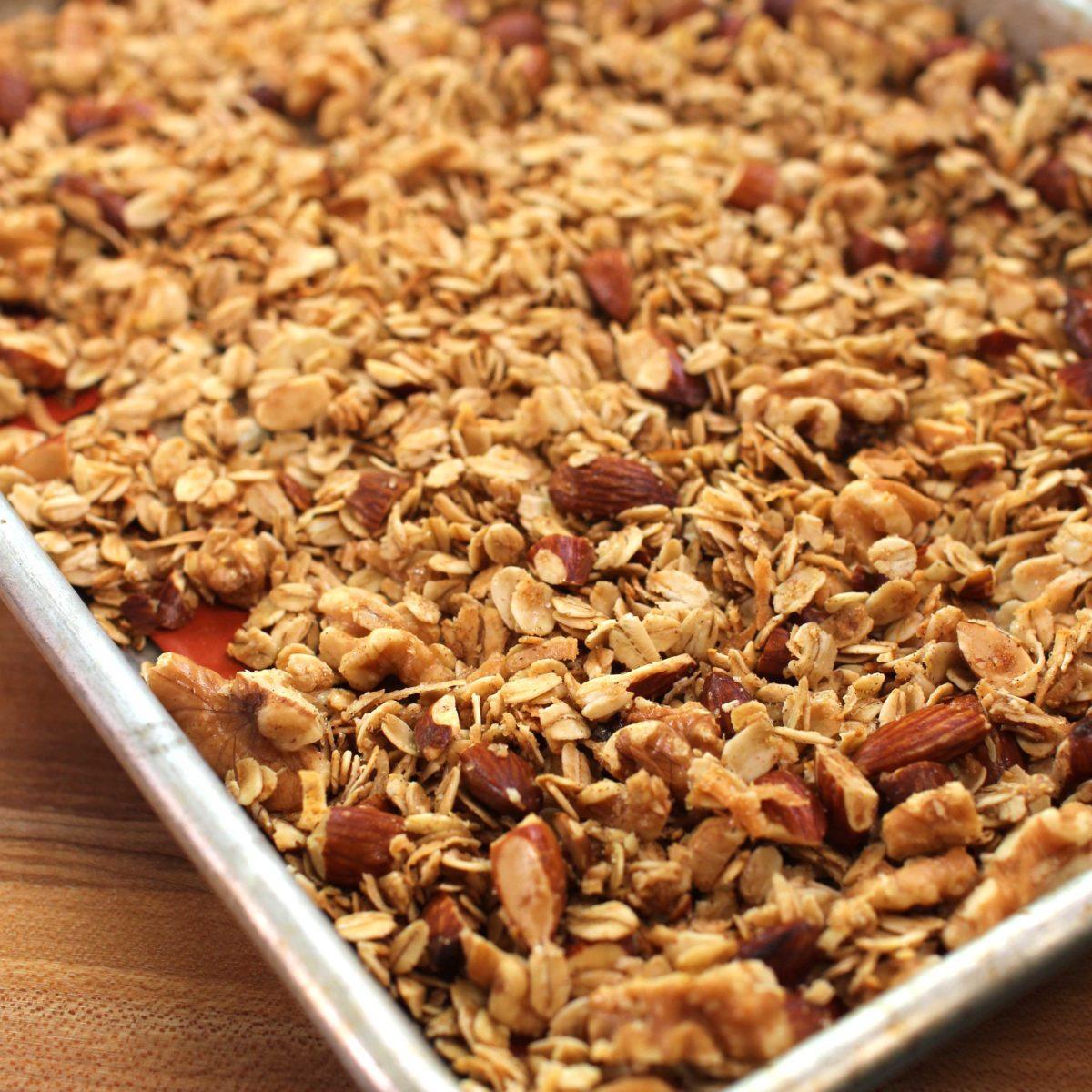 a tray of baked granola.