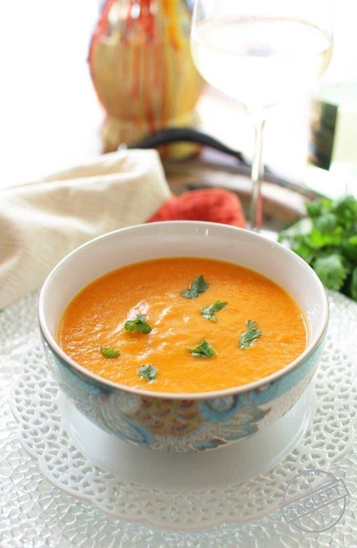 You'll love the perfect mix of spices in this Curried Carrot Soup For One. It's easy to make, hearty and tastes incredible! | onedishkitchen.com