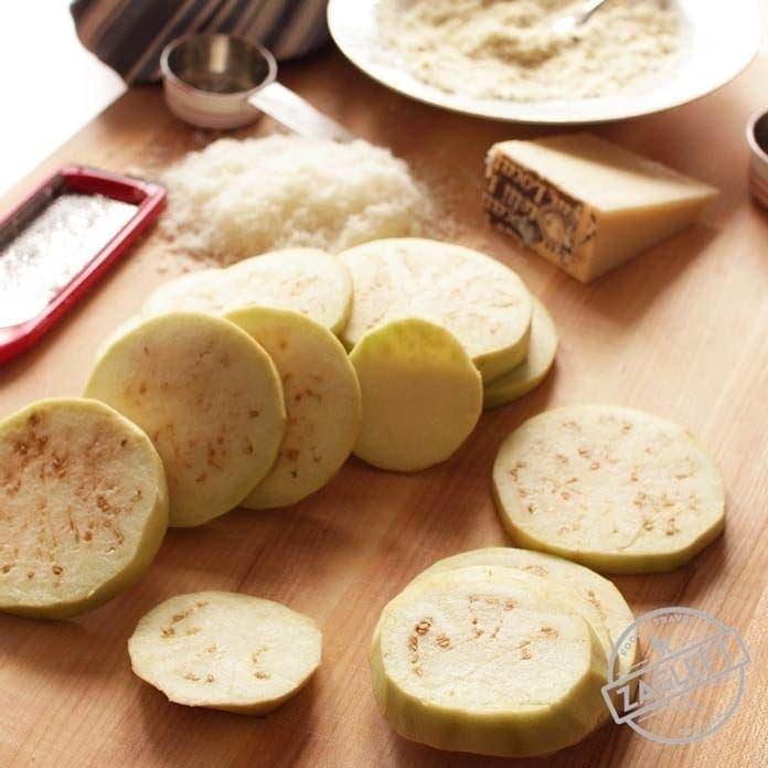 Eggplant slices for eggplant parmesan | One Dish Kitchen