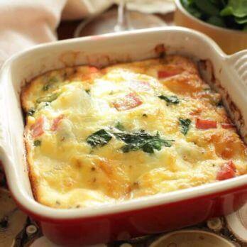 Crustless Spinach Quiche For One | One Dish Kitchen