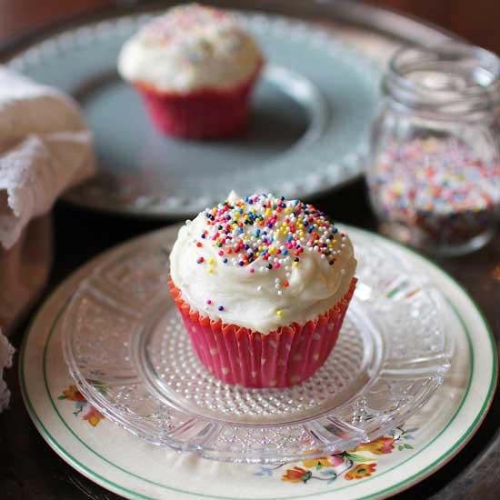 Vanilla Cupcakes | One Dish Kitchen | Game Day Recipes