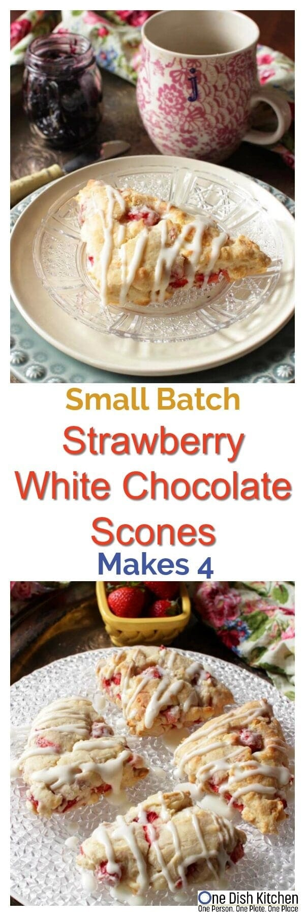 Soft, buttery Small Batch Strawberry White Chocolate Scones made with fresh strawberries. These fruit filled scones are perfect for breakfast or dessert and are so easy to make. This recipe will give you 4 lovely scones. | One Dish Kitchen | onedishkitchen.com