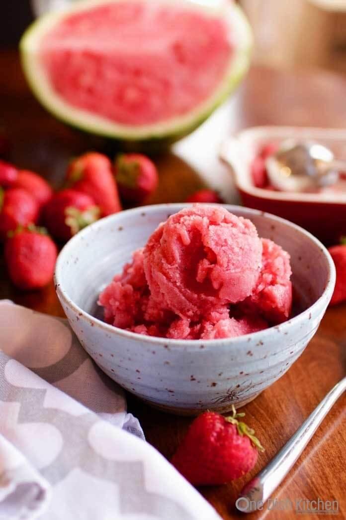 Watermelon Strawberry Sorbet | One Dish Kitchen