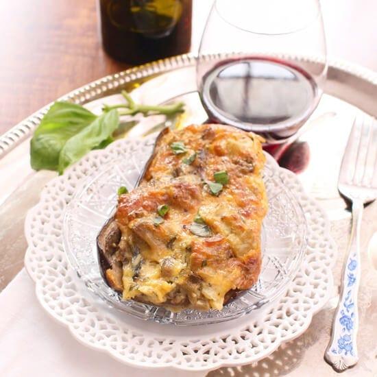 Twice Stuffed Eggplant For One | One Dish Kitchen
