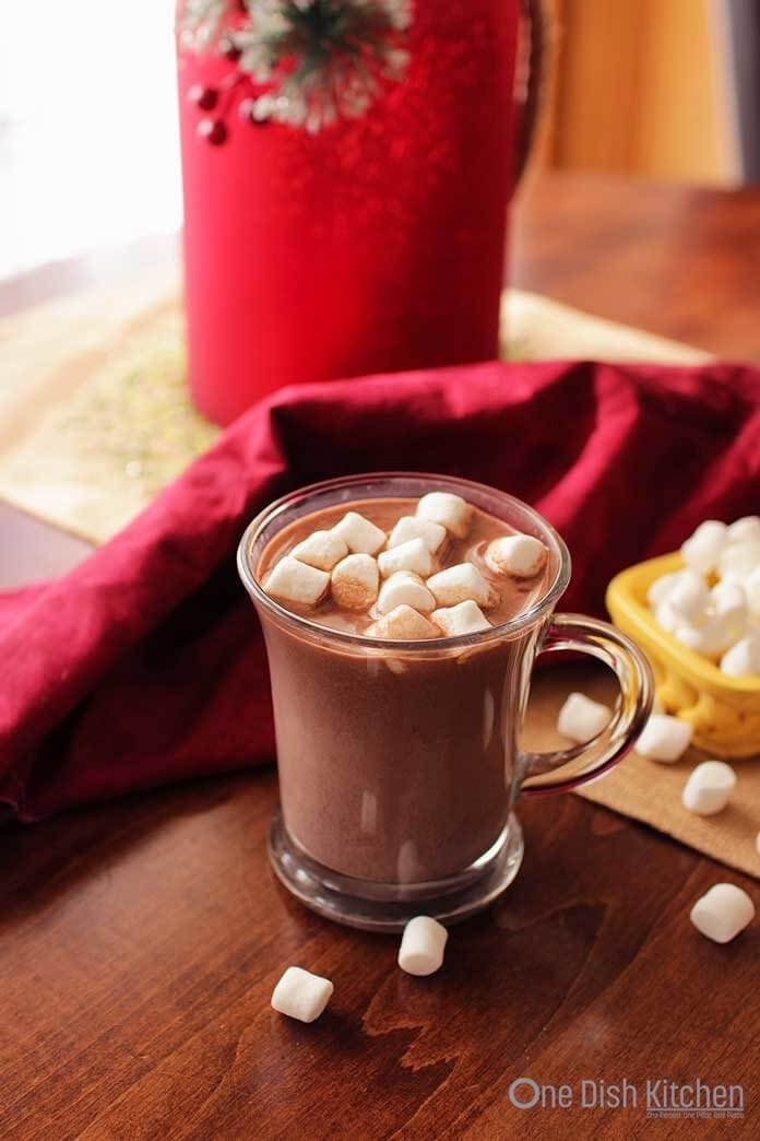 Rich, easy to make homemade hot chocolate for one. A single serving of the richest and best tasting hot chocolate. Made with milk, cocoa powder and sugar.   One Dish Kitchen