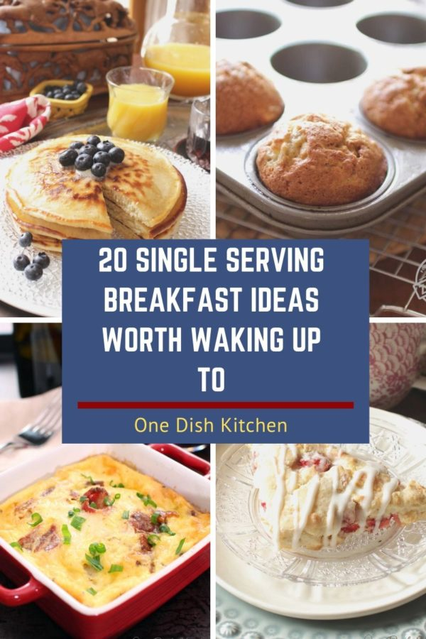 four breakfast recipes including a stack of pancakes, two muffins, a mini quiche, and a scone.