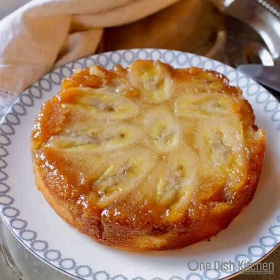 Caramelized Banana Upside Down Cake | One Dish Kitchen