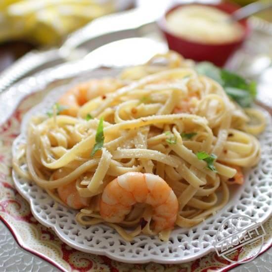 Shrimp Fettuccine For One | Meatless Meals For Lent | One Dish Kitchen