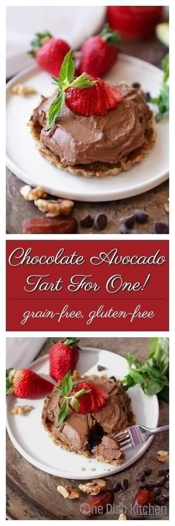 Simple, no-bake, luscious Chocolate Avocado Tart For One with a gluten-free crust made from dates and walnuts. A rich, creamy guilt free dessert that can be ready in minutes. Made with an avocado and cocoa powder and sweetened with a touch of melted chocolate and honey. | One Dish Kitchen