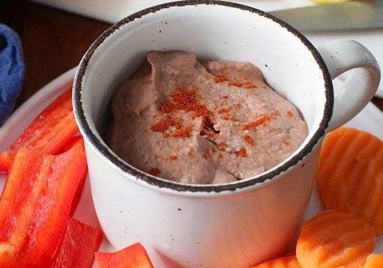 Small Batch Black Bean Hummus in a cup