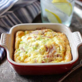 Goat Cheese and Prosciutto Crustless Quiche For One | One Dish Kitchen