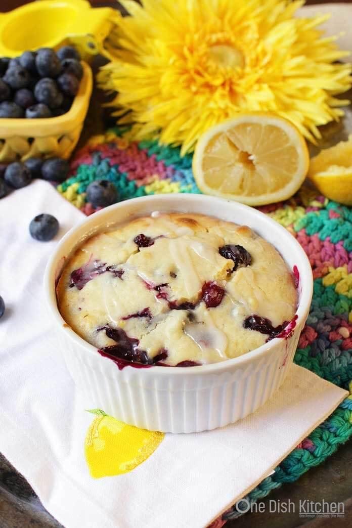 Lemon blueberry muffin in a ramekin   One Dish Kitchen