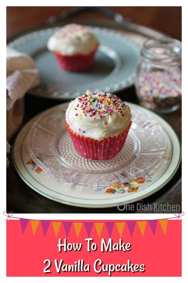 Satisfy a cupcake craving with this small batch recipe for TWO vanilla cupcakes. These delicious cupcakes have a lovely melt-in-your-mouth texture and are topped with a rich, indulgent buttercream frosting. One bowl and no fancy equipment needed and can be made in a toaster oven or conventional oven. | One Dish Kitchen