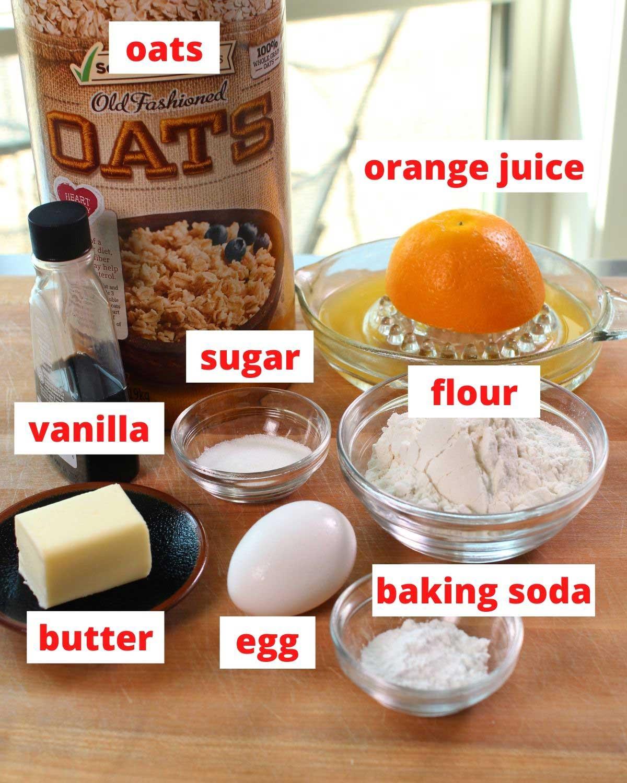 ingredients needed for orange breakfast cake.