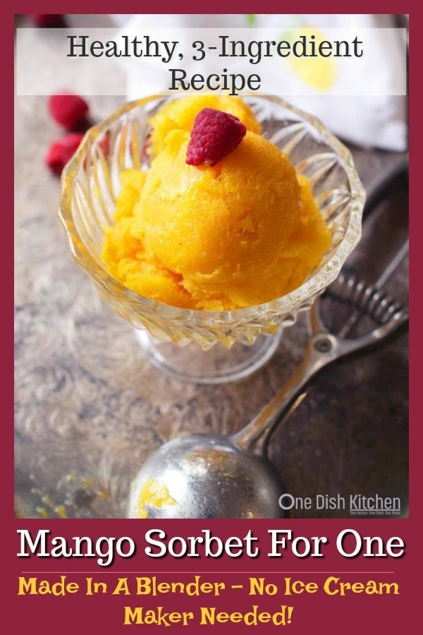 Creamy Mango Sorbet For One made with 1 fresh mango or frozen mango chunks, honey and lemon juice. This single serving dessert recipe can be made in the blender and no ice cream maker needed! | One Dish Kitchen - Your Single Serving Recipe Source | #singleserving #sorbet #dessert #recipeforone