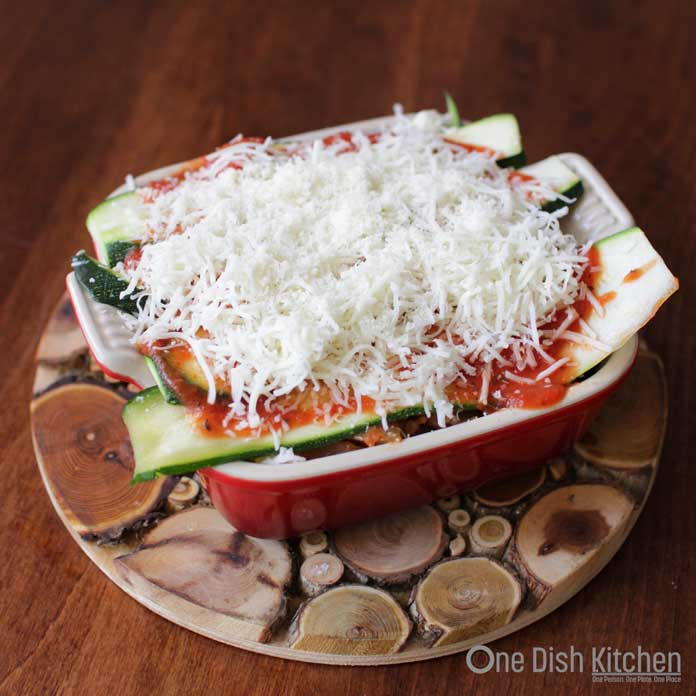Zucchini Lasagna ready to go in oven | One Dish Kitchen