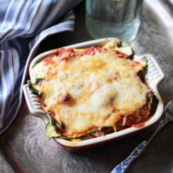 Baked Zucchini Lasagna in a square baking dish