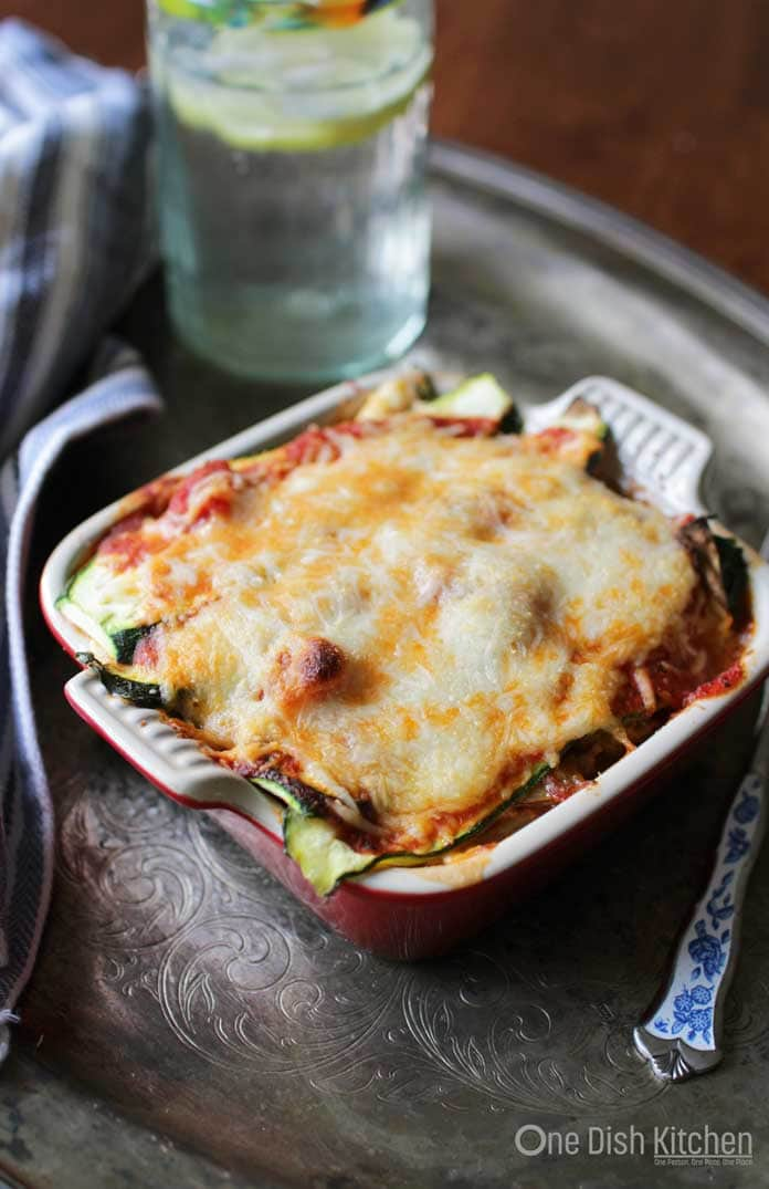 Healthy, low carb, cheesy Zucchini Lasagna Recipe For One | One Dish Kitchen