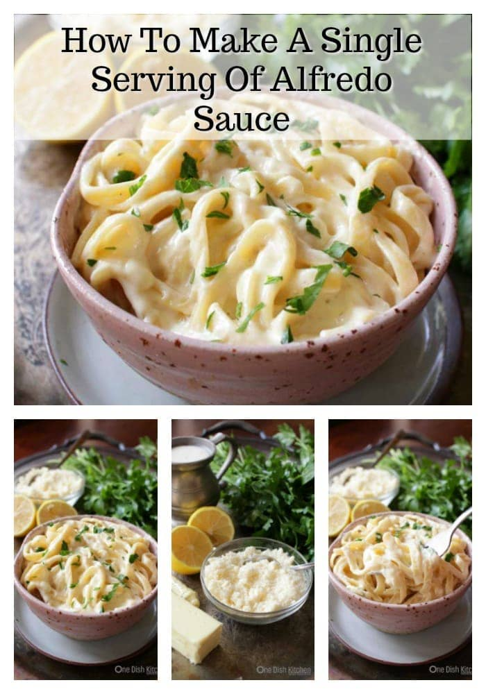 Easy to make single serving Alfredo Sauce Recipe For One - This rich and creamy sauce is made with cream, butter, lemon juice, Parmesan cheese and a pinch of nutmeg. Delicious over pasta or with chicken. | One Dish Kitchen | #singleserving #pastarecipes #saucerecipes #cookingforone #recipesforone