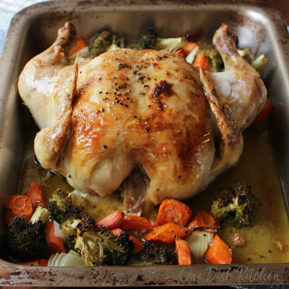 A whole chicken in a roasting pan surrounded by broccoli, sliced carrots, and sliced onions