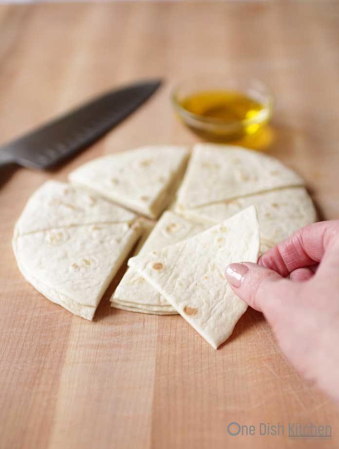 cut tortillas for tortilla chips