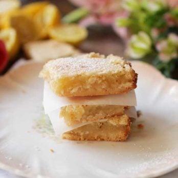 3 lemon bars stacked |One Dish Kitchen