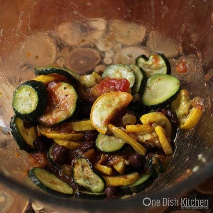 Preparing Vegetables for enchiladas recipe